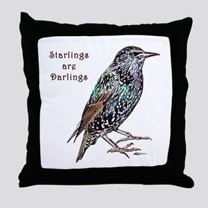 Starlings Are Darlings Throw Pillow