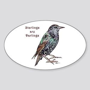Starlings Are Darlings Sticker (Oval)