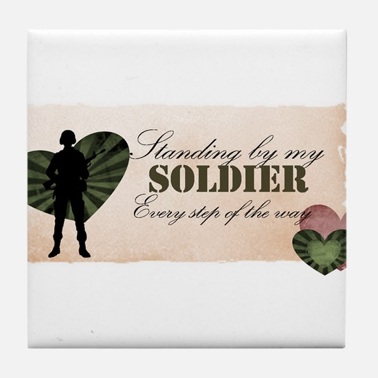 standing by my soldier Tile Coaster
