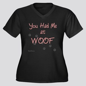 WOOF (pink) Women's Plus Size V-Neck Dark T-Shirt