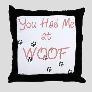 WOOF (pink) Throw Pillow