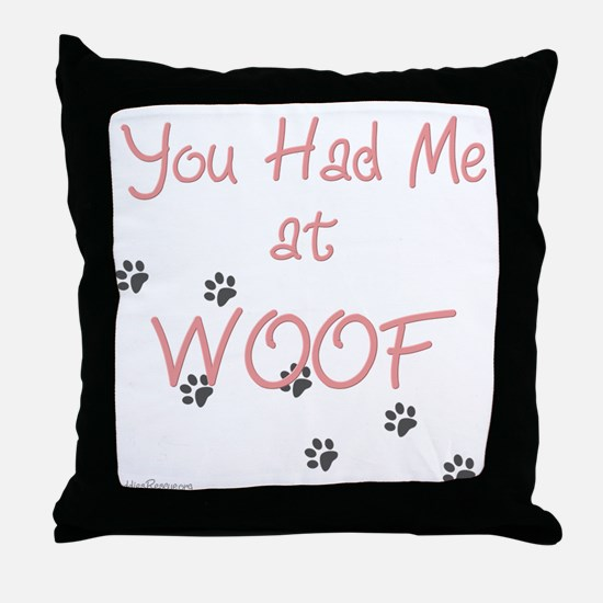 WOOF (pink) Throw Pillow
