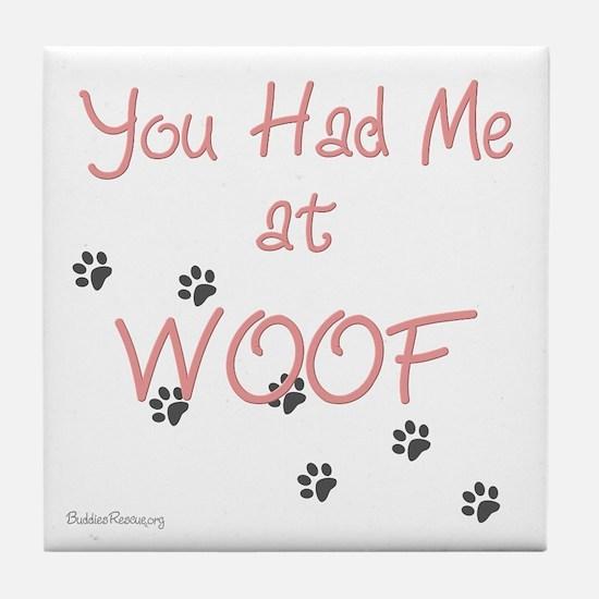 WOOF (pink) Tile Coaster