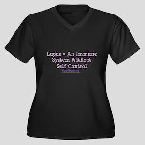 Self Control Women's Plus Size V-Neck Dark T-Shirt