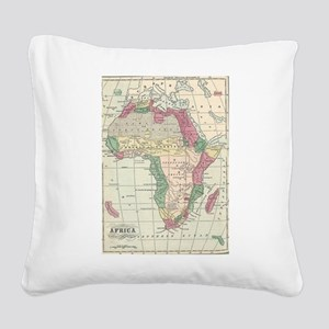 Vintage Map of Africa (1872) Square Canvas Pillow