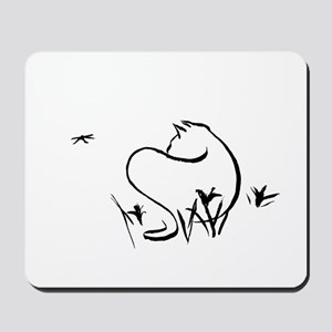 Cat with Dragonfly Mousepad