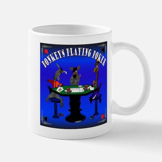 Donkeys playing poker mug
