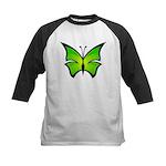 A Green Butterfly Kids Baseball Jersey
