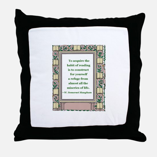 The Habit of Reading Throw Pillow