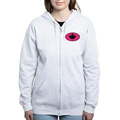 Black Maple Leaf Women's Zip Hoodie