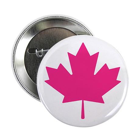 "Pink Maple Leaf 2.25"" Button"