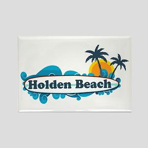 "Holden Beach NC ""Surf"" Design Rectangle Magnet"