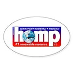 Hemp: Earth's #1 Resource Log Sticker (Oval 50 pk)