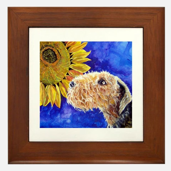 Airedale Sunflower Framed Tile