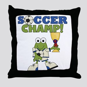 Frog Soccer Champ Throw Pillow