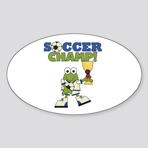 Frog Soccer Champ Sticker (Oval)