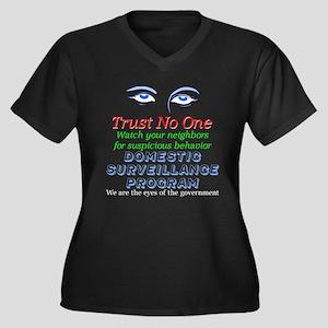 Domestic Spy Women's Plus Size V-Neck Dark T-Shirt