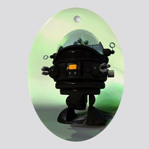 Cute Toy Planet Robot Ornament (Oval)