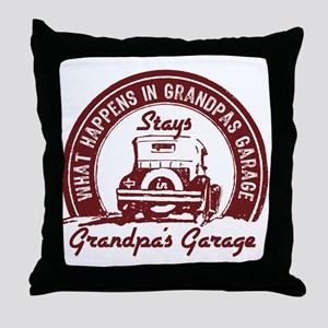 Grandpa's Garage Throw Pillow