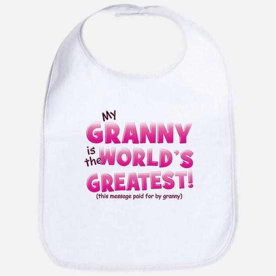 World's Greatest Granny (pink) Bib