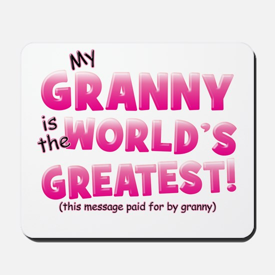 World's Greatest Granny (pink) Mousepad
