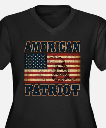American Patriot Women's Plus Size V-Neck Dark T-S