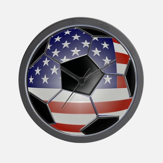 US Flag Soccer Ball Wall Clock