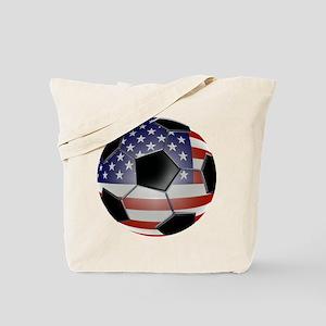 US Flag Soccer Ball Tote Bag