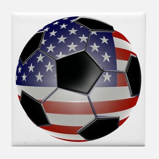 US Flag Soccer Ball Tile Coaster