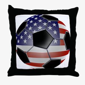 US Flag Soccer Ball Throw Pillow