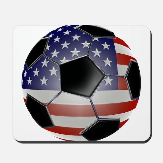 US Flag Soccer Ball Mousepad