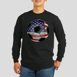 US Flag Soccer Ball Long Sleeve Dark T-Shirt