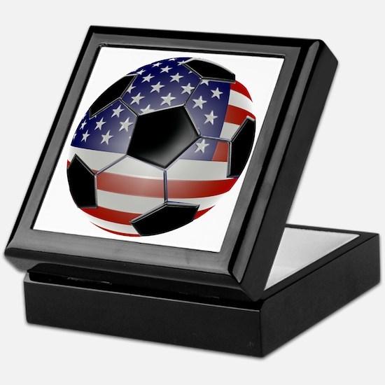 US Flag Soccer Ball Keepsake Box