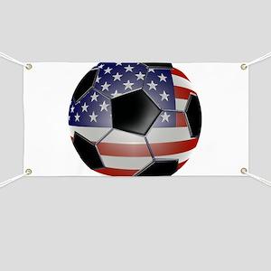 US Flag Soccer Ball Banner