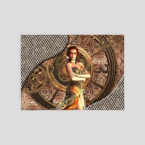 Steampunk, beautiful steam women with clocks 5'x7'