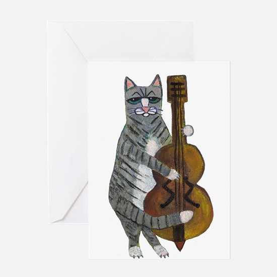 Cat and Cello Greeting Card