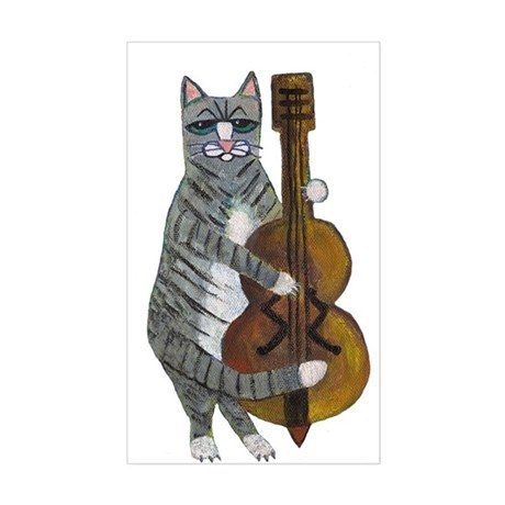 Cat and Cello Sticker (Rectangle)