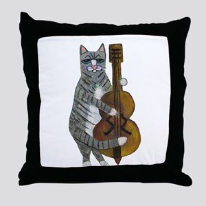 Cat and Cello Throw Pillow