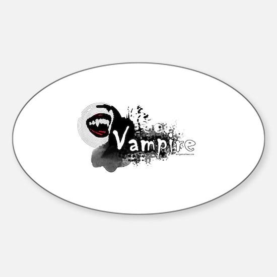 Beautiful vampire mouth grunge Sticker (Oval)