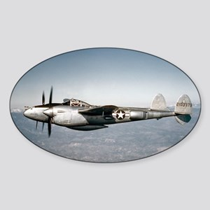 P-38 In Flight Oval Sticker