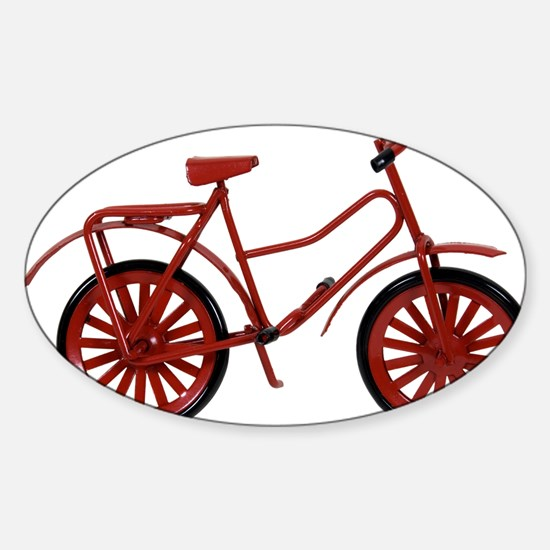 Red Bicycle Sticker (Oval)