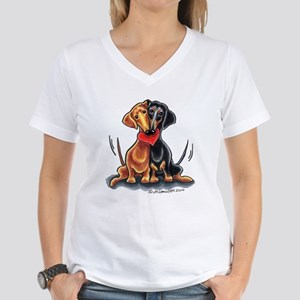 Smooth Dachshund Lover Women's V-Neck T-Shirt