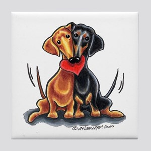 Smooth Dachshund Lover Tile Coaster