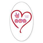 I Love Mom Sticker (Oval 50 pk)