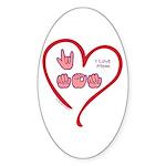 I Love Mom Sticker (Oval)