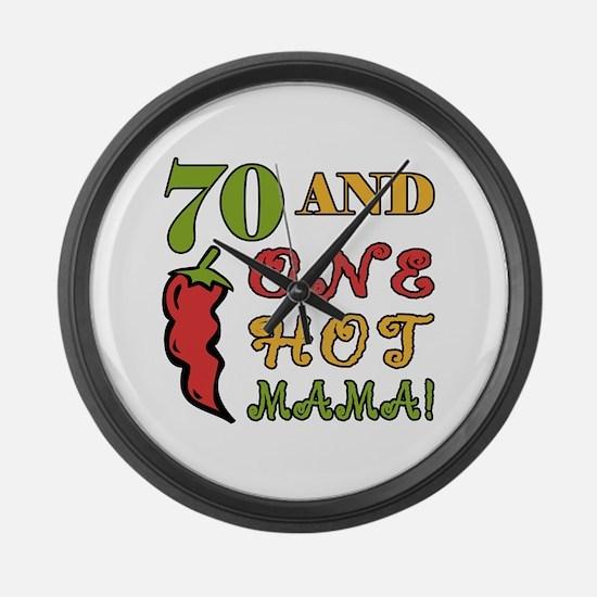 Hot Mama At 70 Large Wall Clock