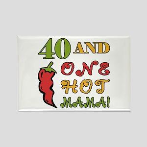 Hot Mama At 40 Rectangle Magnet