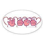 ILY Mom Hearts Sticker (Oval)