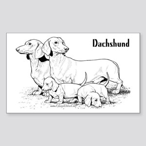 Dachshund Family Sticker (Rectangular)