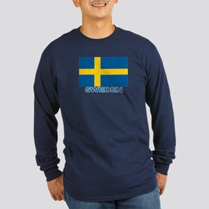Swedish Flag (w/title) Long Sleeve Dark T-Shirt
